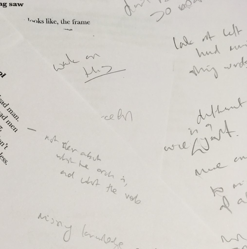close up of poetry writing draft
