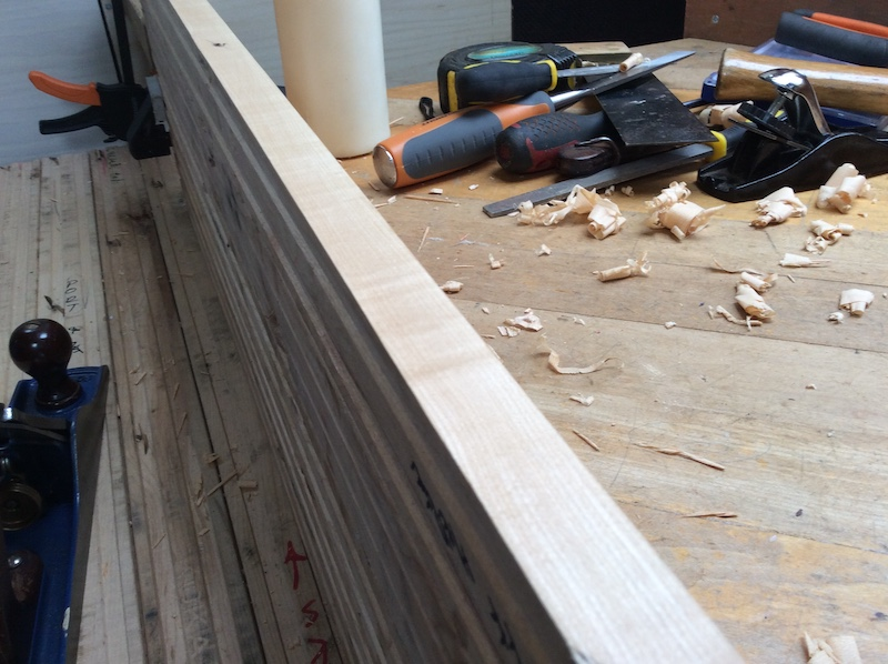 close up of planed maple plank