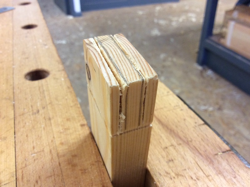 sawing practice along a tenon